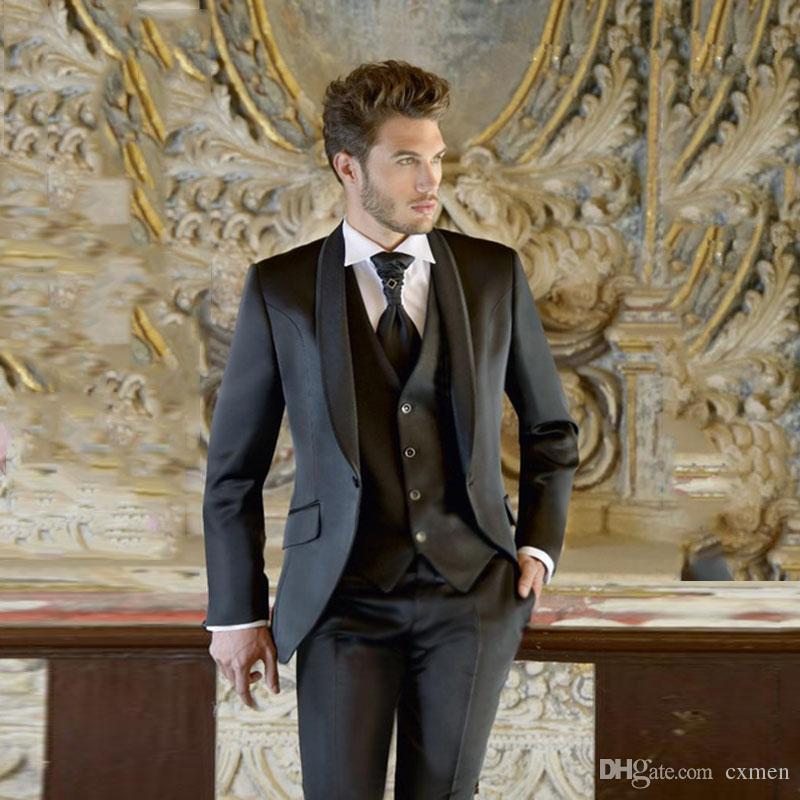 Tailored Black Wedding Suits for Men Blazer Shawl Lapel Slim Fit Groom Tuxedo Bridegroom Prom Wear 3 Pieces Jacket Pants Vest Evening Party