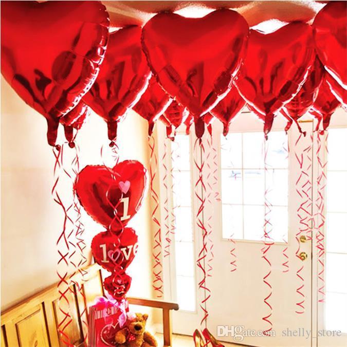 Оптовая продажа 18 дюймов любви в форме сердца в форме воздушных шаров украшения алюминиевые фольги воздушный шар рождения вечеринка свадебное украшение