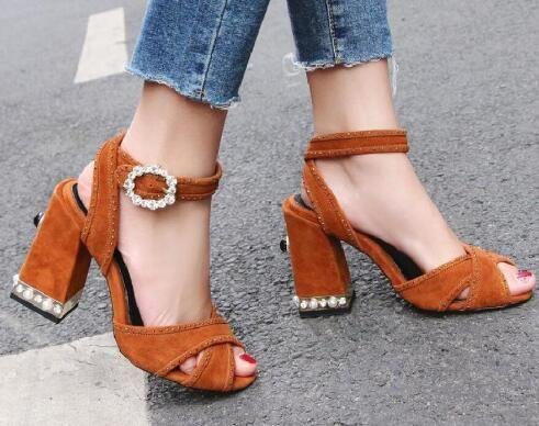 2018 sandali delle donne di stile di moda scarpe da sposa sandali tacco grosso sandali open toe diamante fibbia tacchi alti cinturino alla caviglia