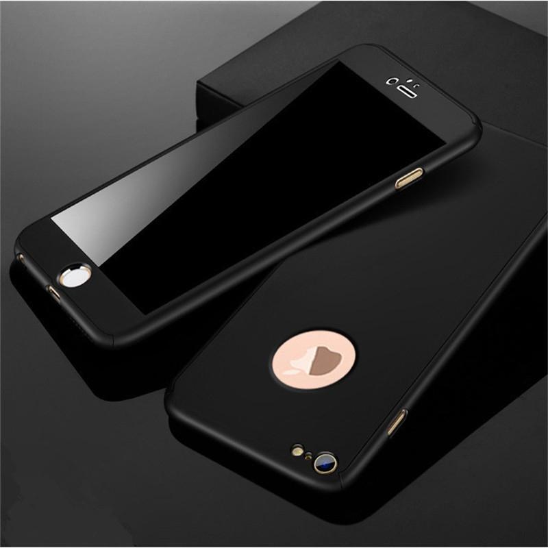 360 derece case için iphone 6 7 8 x case sert darbeye dayanıklı ince kapak tam koruyucu için iphone x 5 6 7 8 artı case + cam