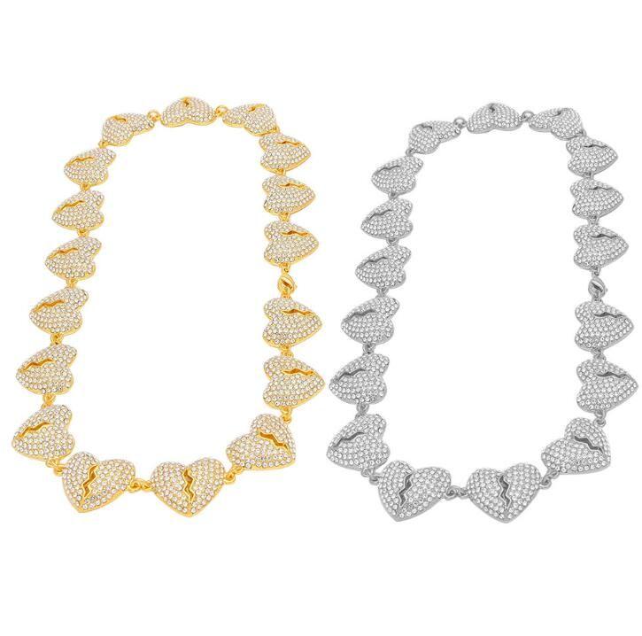 Unisex Hip Hop Iced Out Bling Heart Broken Diamond Punk Chain Link Novel Collana Gioielli Uomo Donna