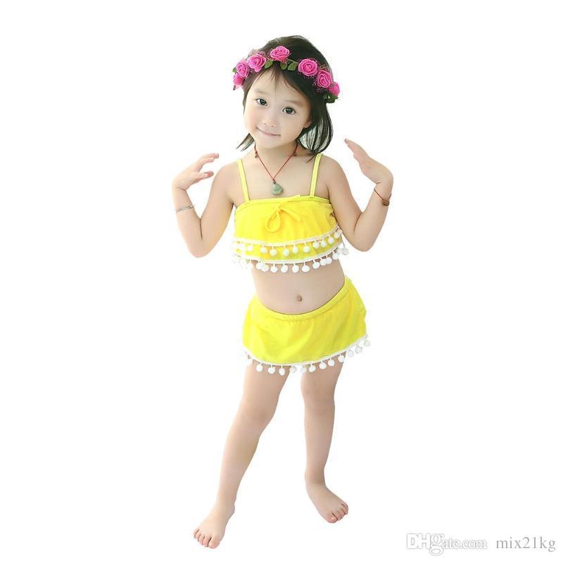 3-5Y Summer Kids Costume da bagno per ragazza Solido Costume intero Costumi da bagno Costume da bagno Ball Nappa Beachwear Giallo rosa blu