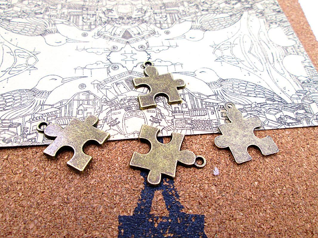 45pcs New Arrivals 22*19mm antique bronze puzzle piece diy jewelry making