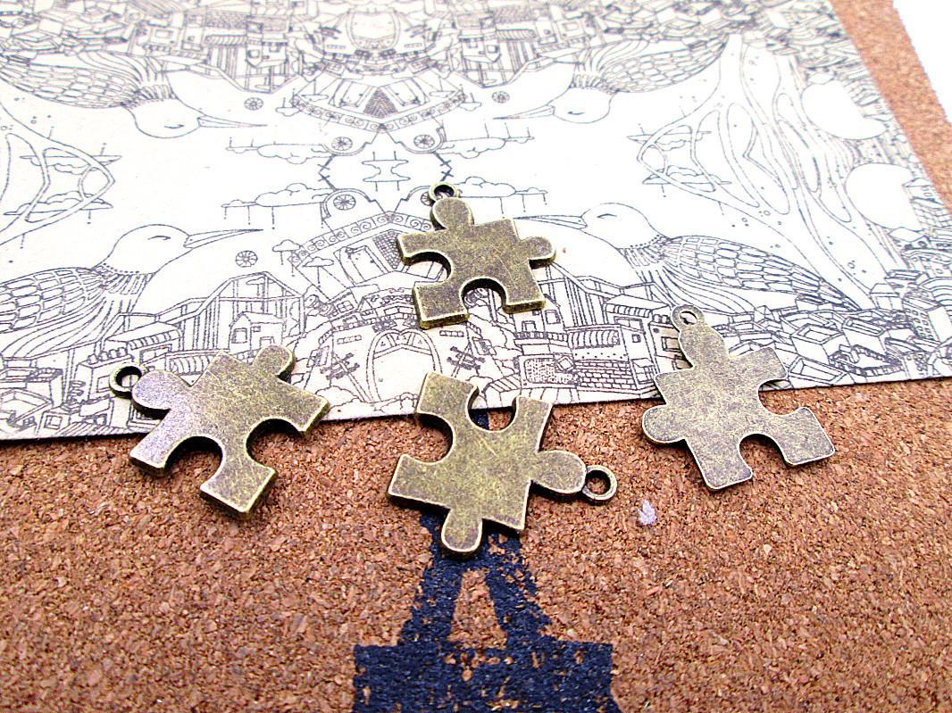45pcs New Arrivals 22*19mm antique bronze puzzle piece diy jewelry making