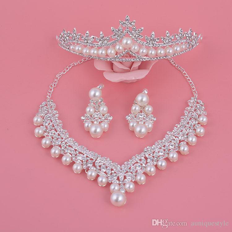 Set di gioielli da sposa, Auniquilstyle New Design Design Silver Flower Crystal Pearl Set Set Set collana Orecchini Tiara Corco Cortonia Accessori da sposa