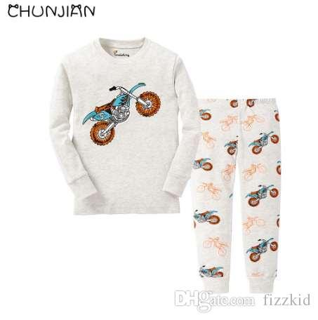 Новые мальчики 2 шт. пижамы дети мотоцикл пижамы детские для 2-7 лет пижама детская одежда комплект девочек 100% хлопок рукав