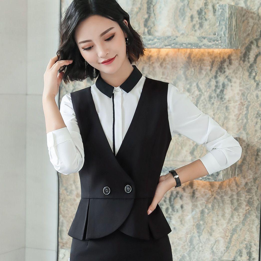 New Plus Size 5XL Elegant Formal Women's Work Vest Black V-Neck Slim Female Double Breasted Vest Office Waistcoat for Women 6010