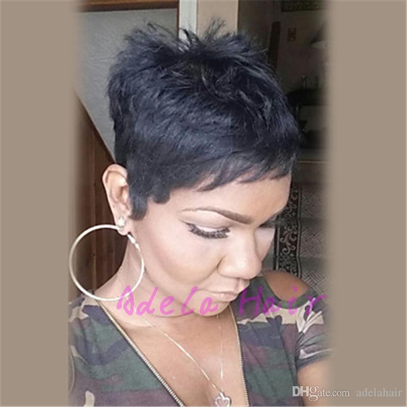 Парики шнурка человеческих волос полные / парики фронта шнурка с волосами младенца 8A естественная волна бразильское Machien сделало парик человеческих волос для черных женщин