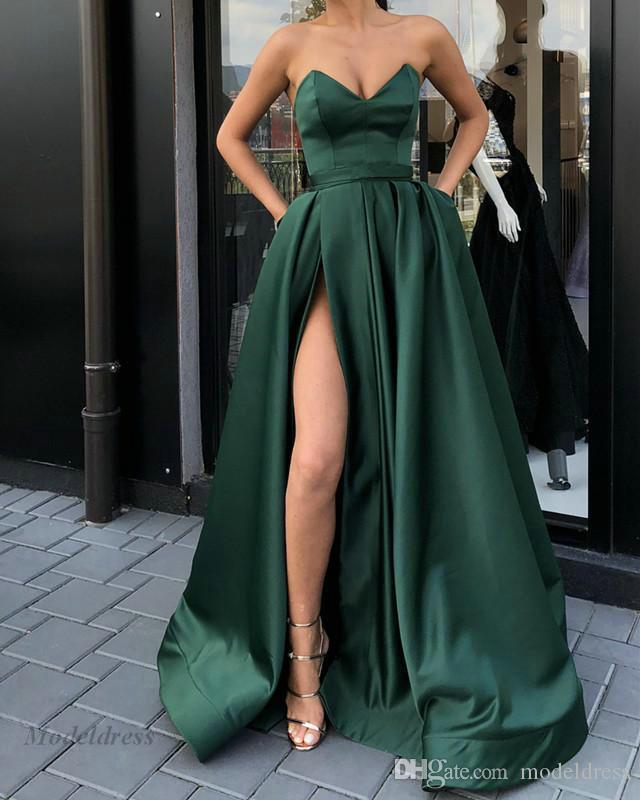 Green A Line Prom Dresses High Split Strapless Satin Floor Length Elegant Sexy Party Dresses for Girls Graduation Gowns 2018