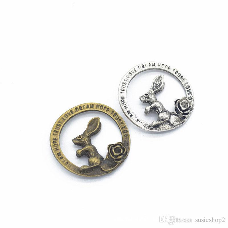100 Stück Antik Bronze Silber Runde Charms Buchstaben Kaninchen Charms Rose Blume Charms Hoffnung Trust Love Dream 33mm
