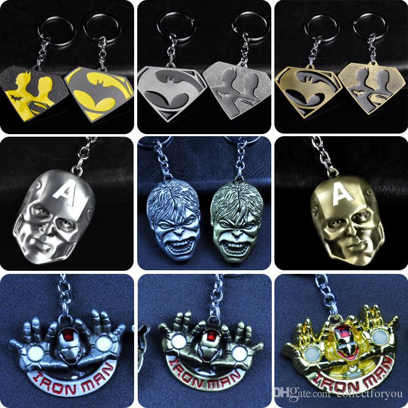 Superhero iron Man Hulk Mask Pendant Keychain Zinc Alloy Metal Superman Key Chain Key Ring For Men Women Christmas Gift