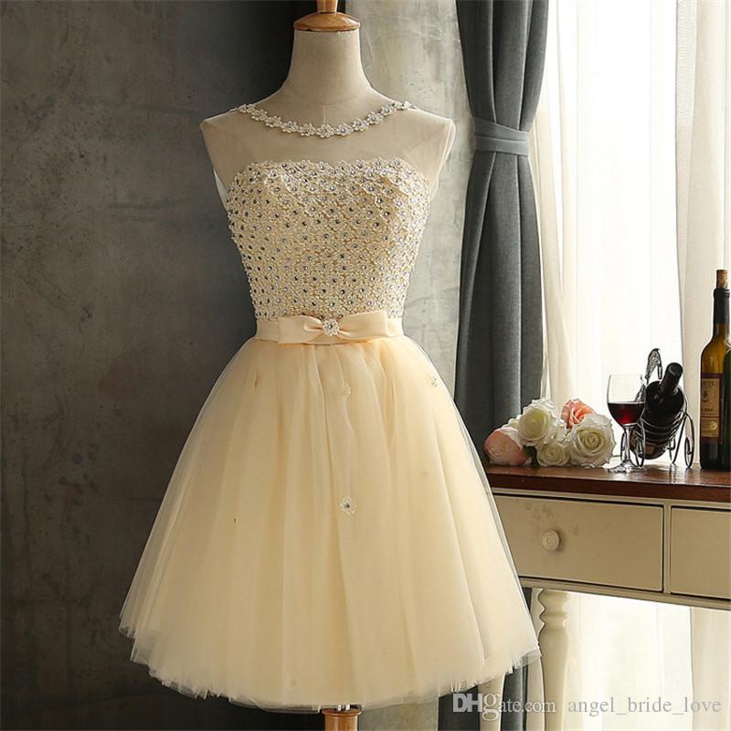Compre 2018 Apliques De Moda De Cristal Cortos Vestidos De Baile Con Arco De Tul Con Cordones Fiesta De Bienvenida Cóctel Ocasión Especial Vestido