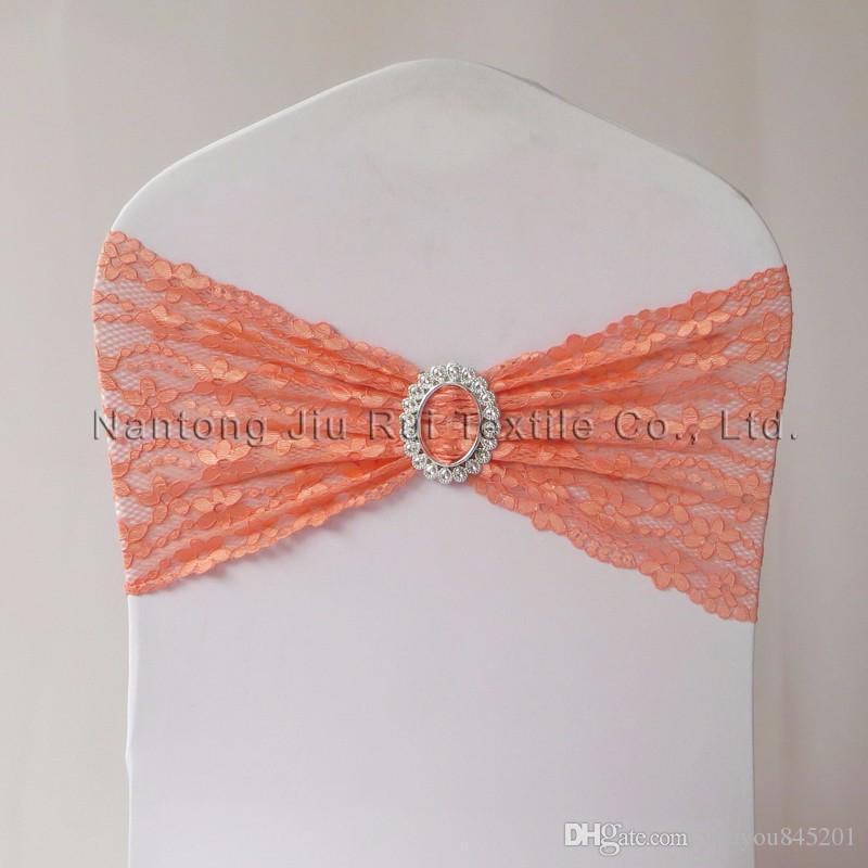 Оптовая мода Бесплатная доставка оранжевый кружева стул полосы для свадебные украшения банкетный стул охватывает украшения