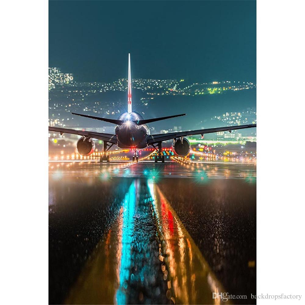 Airport Night Scene Big Airplane Photography Backdrops Sparkling Pilot Light Bokeh Kids Children Wedding Photo Shoot Backgrounds for Studio