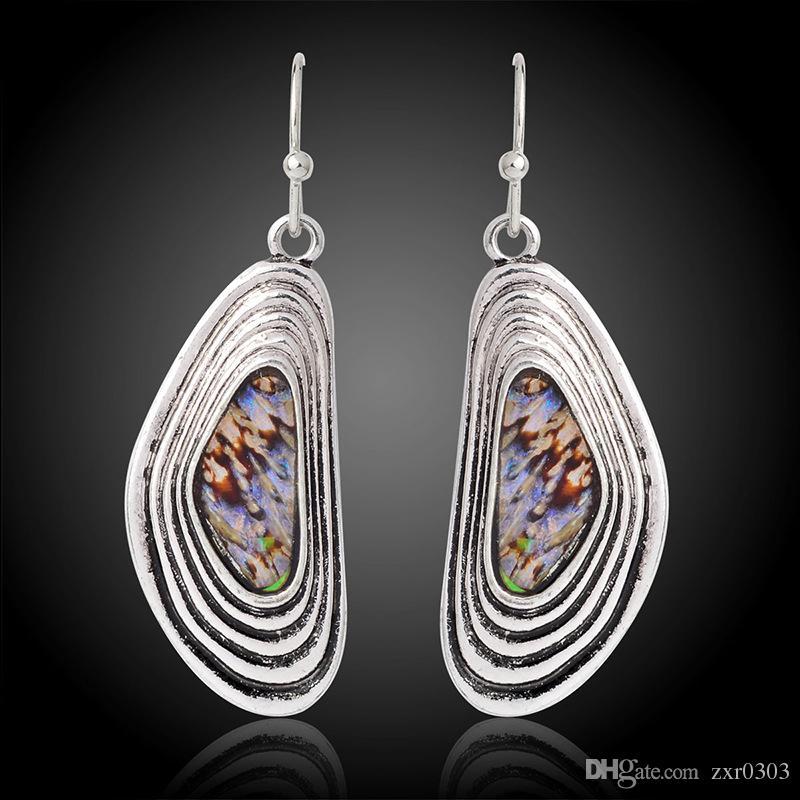 Древний серебряный полукруг серьги болтаться серьги уха ювелирные изделия Серьги для женщин женщин женщин Pendientes