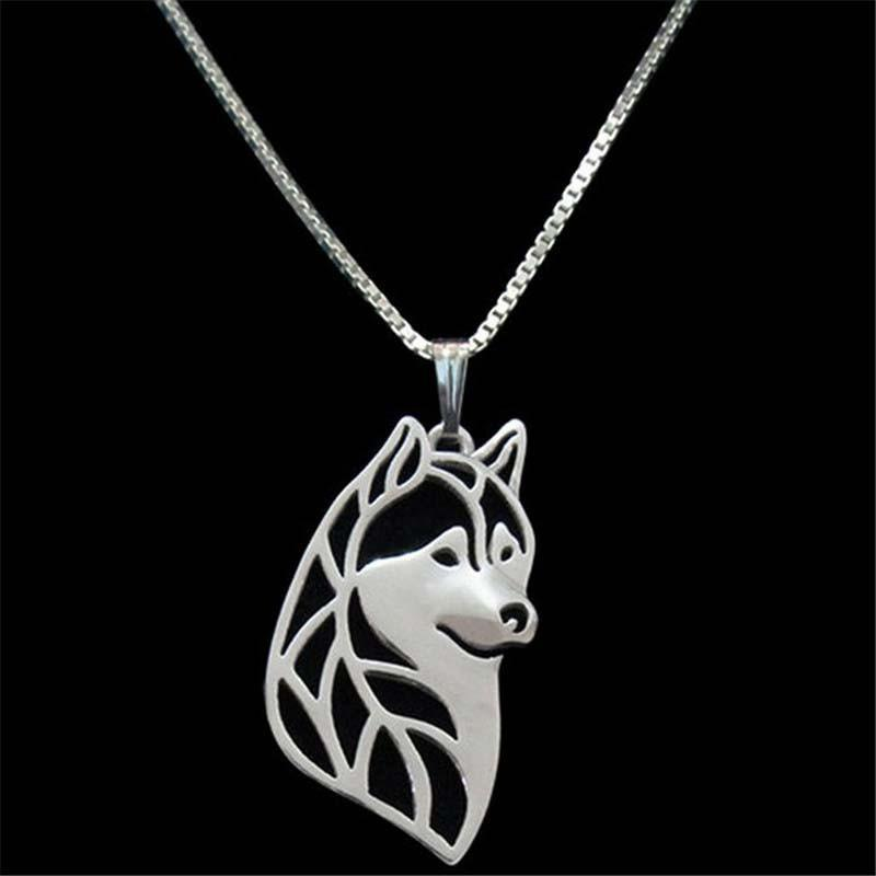 Alloy animal dog pendant Husky silver plated necklace fashion jewelry wholesale