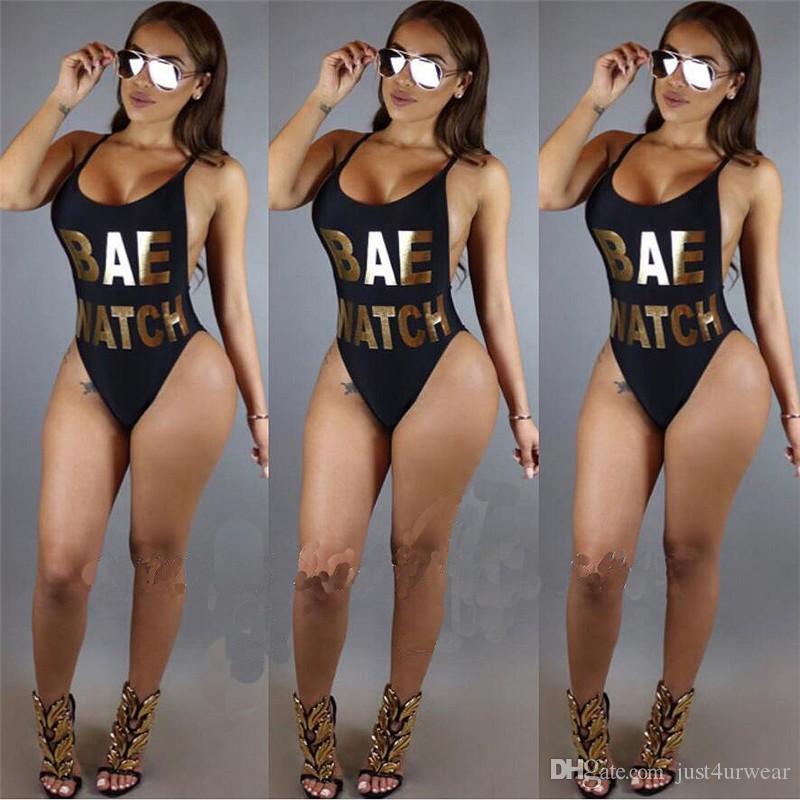 Frauen-Sommer-Strand-Bikini-Isolationsschlauchbügel Backless reizvolle einteilige Spielanzüge-Goldbuchstaben-Bikinis-Badebekleidung