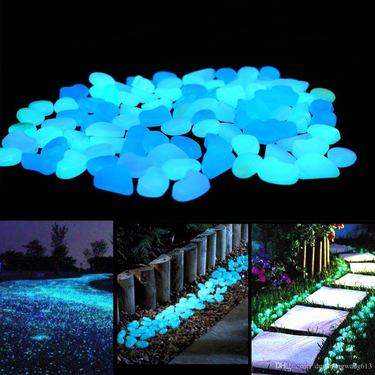 Brillan en el jardín oscuro Piedras de guijarros para decoración de patio y pasillos, piedras decorativas de bricolaje