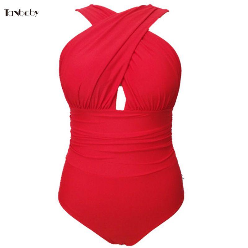 Trajes de baño de gran tamaño para mujer 1 piezas Trikinis Cross Cup de cintura alta traje de baño rojo más el tamaño de una pieza de trajes de baño