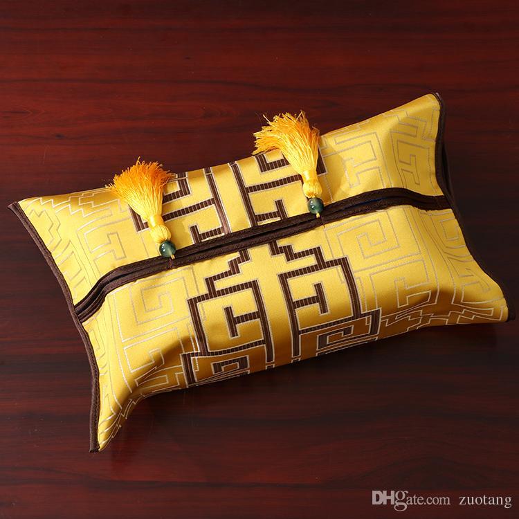 최신 럭셔리 중국어 스타일 장식 티슈 박스 커버 실크 브로케이드 자동차 커피 테이블 다이닝 룸 직사각형 술 클리 넥스 케이스 가방