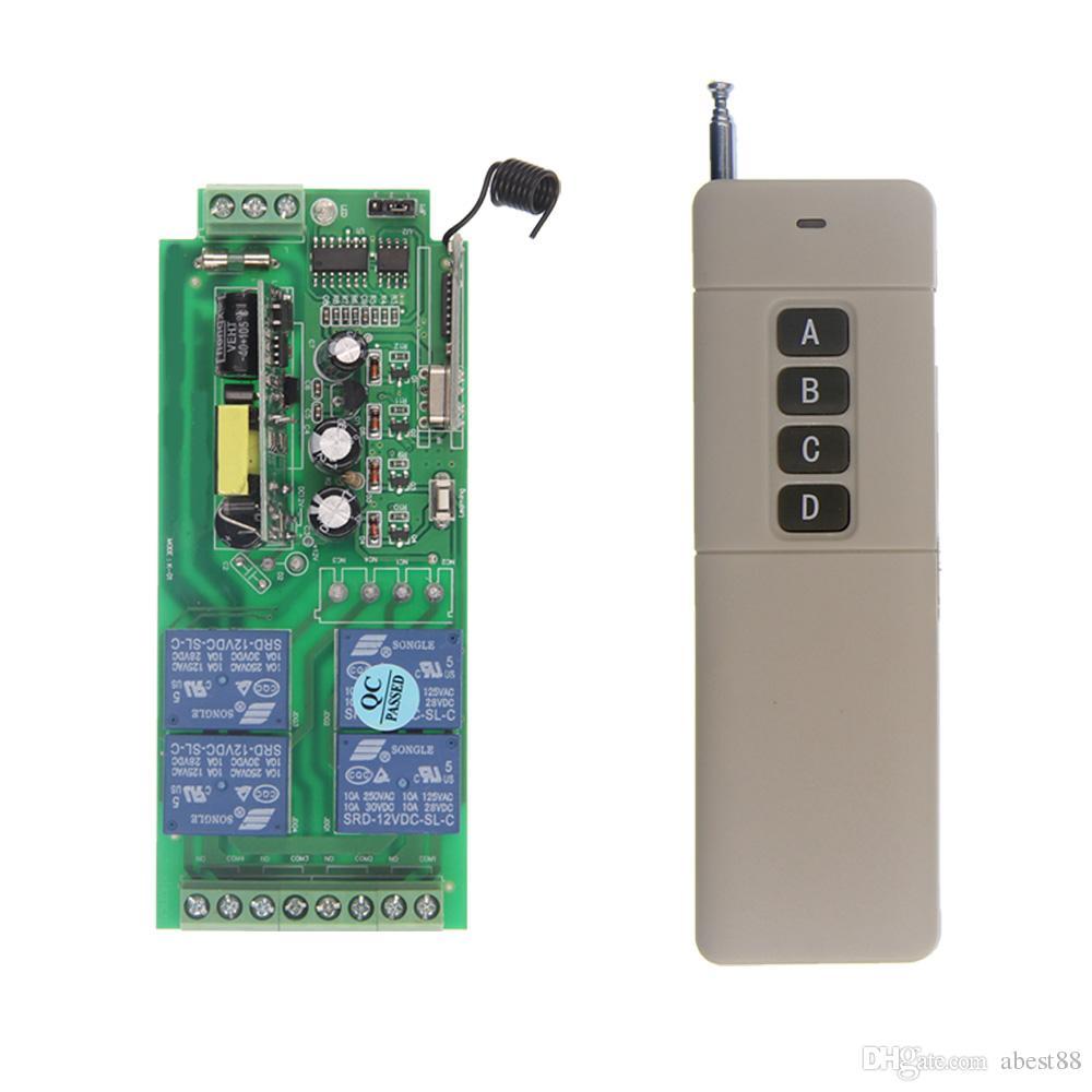 3000 m AC 85 V-265 V 110 V 220 V 4 Kanal 4CH RF Kablosuz Uzaktan Kumanda Anahtarı Sistemi Alıcısı + Verici, 315 433 MHz