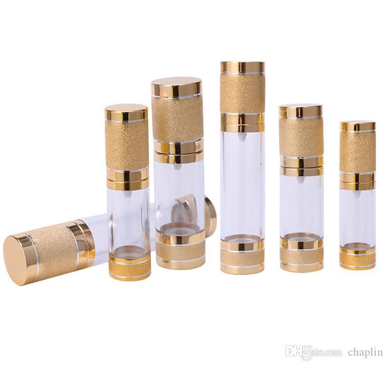 15 30 50 ML vide Airless Flacon pompe à vide pour Rechargeables Container cosmétique Crème Lotion Sérum liquide or et d'argent