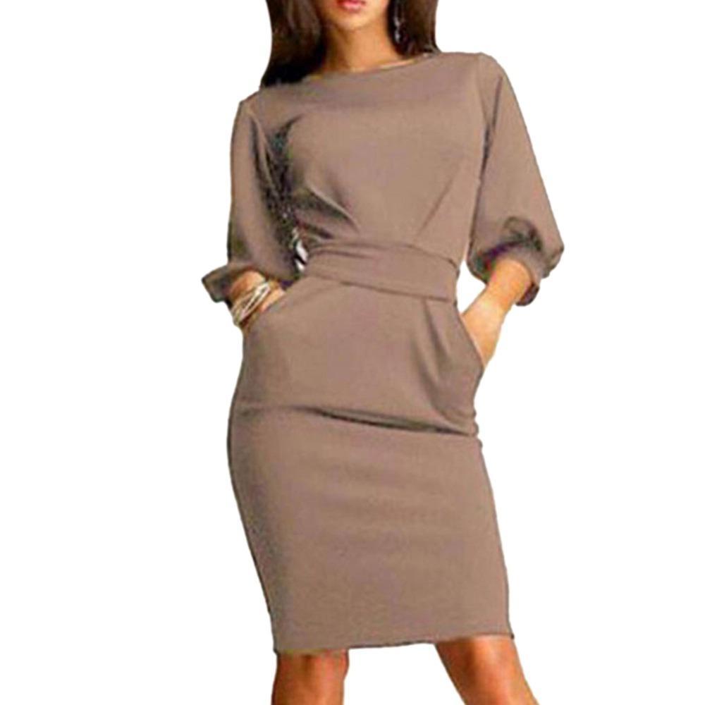 2018 vestido de oficina de trabajo de primavera y verano de media manga o-cuello damas elegantes vendaje bodycon vestido de fiesta delgado Vestidos más el tamaño