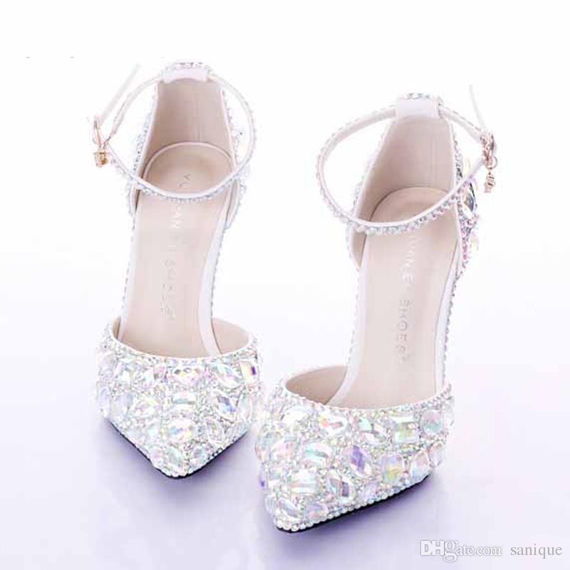 Scarpe Da Sposa Con Brillantini.Acquista Scarpe Da Sposa Con Tacco Medio Argento Strass Sapatos