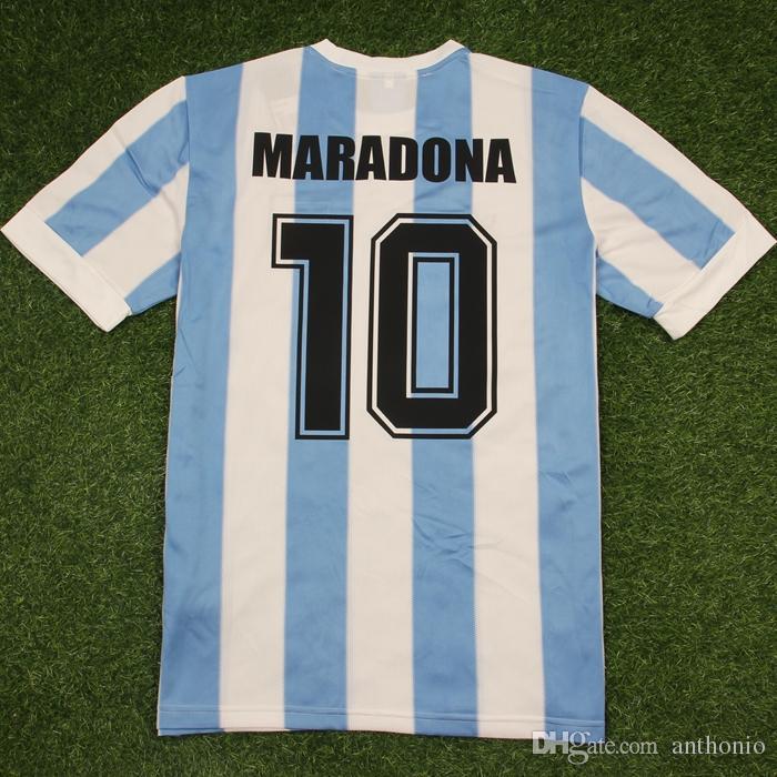 1986 Argentina Argentina Retro Clásico Vintage Diego Maradona Jersey Jersey Jersey Camisa de Futebol Jersey Adulto Camisa de Fútbol Adulto Tailandia Calidad