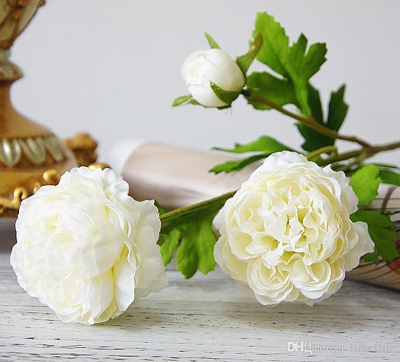 3 cabezas de flores de seda rosa artificial peonía wed decoración para ramo de pérgola en blanco azul púrpura