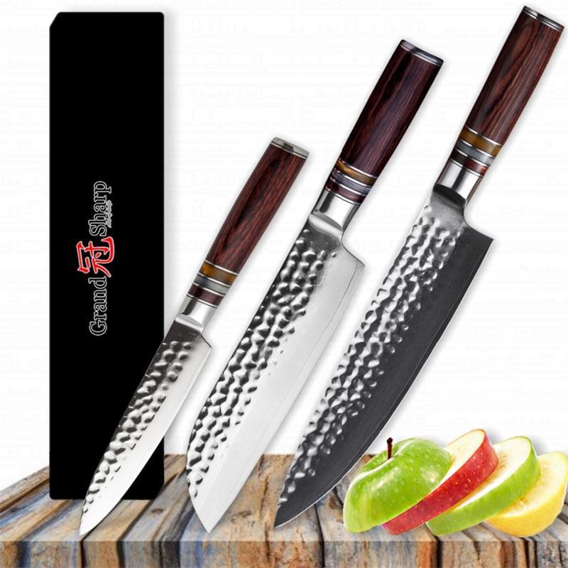 GRANDSHARP 3 Pcs Knife Set Japanese Steel Kitchen Knives Damascus Kitchen Knife Hammered Blade Japanese Knives Best Gift Chef Santoku Fruit