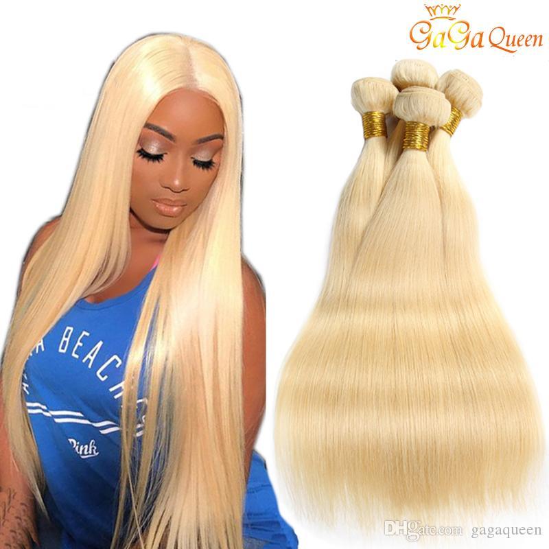 613 اللون مستقيم الشعر نسج حزم شقراء البرازيلي مستقيم الشعر 10-24 بوصة شعر إنساني إمتداد غاغا ملكة