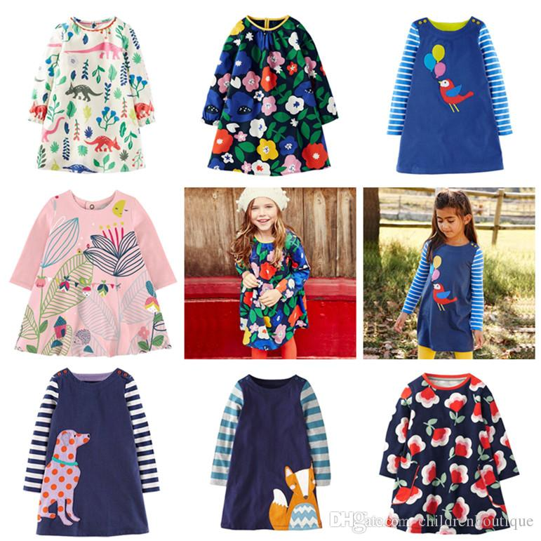 Long Sleeve Girl Dress Princess Kids Tunic Jersey Robe Baby Clothes Children