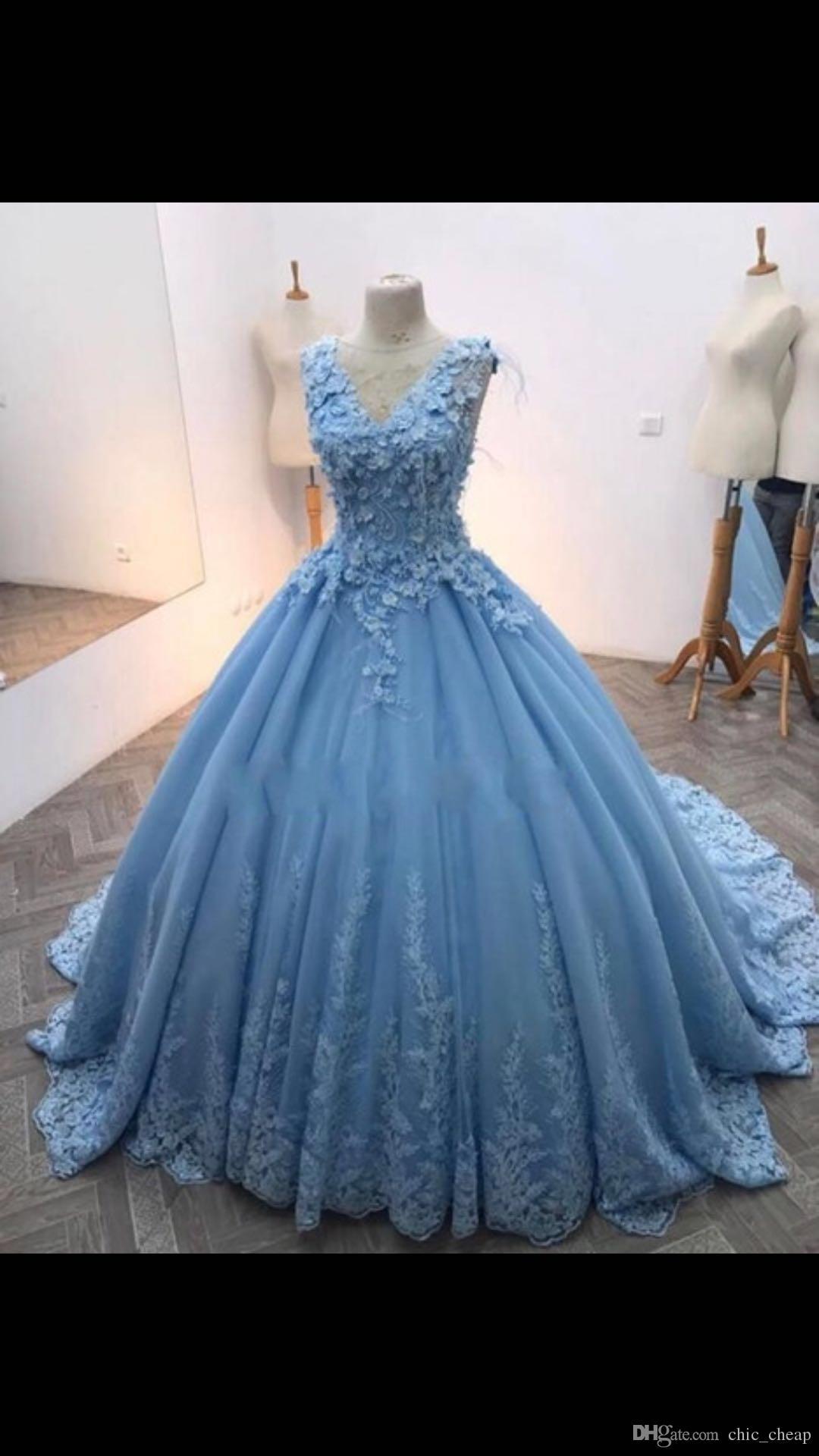 Großhandel V Ausschnitt Ärmellose Blaue Farbe Ballkleid Sexy Brautkleider  Bodenlangen 14 Nach Maß Lace Up Zurück Luxuriöse 14D Blumen Brautkleider