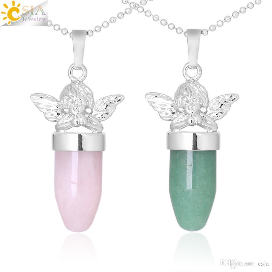 CSJA Little Angel Collana in pietra naturale ciondolo a forma di proiettile collane rosa quarzo lapislazzuli per le donne gioielli collo bello F361