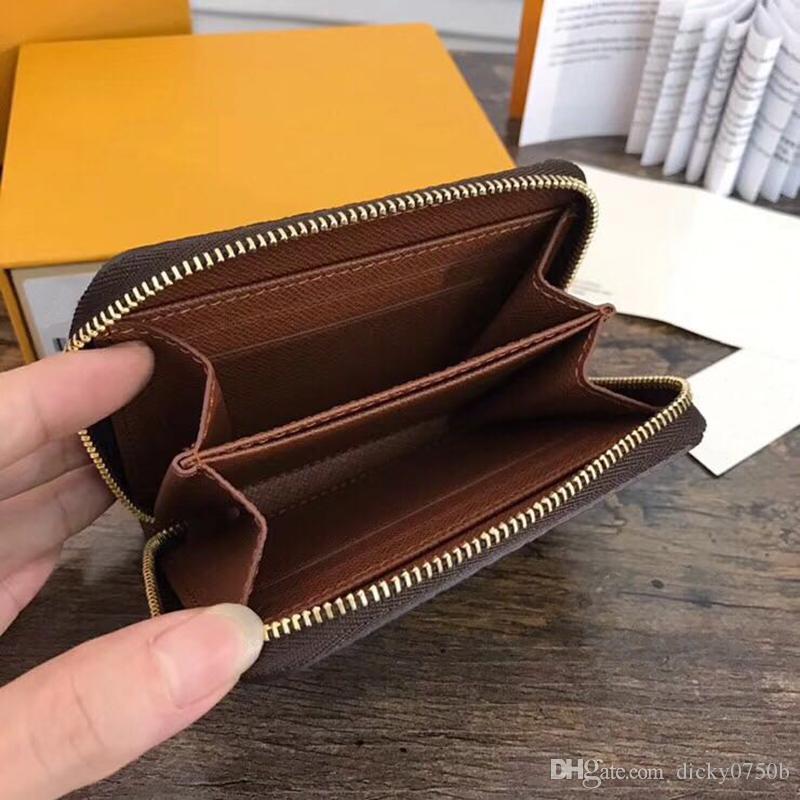 أعلى جودة محفظة جلد طبيعي للمرأة الكلاسيكية القياسية الجلود أزياء المحفظة محفظة النقود الحقيبة سستة مقصورة جيب عملة