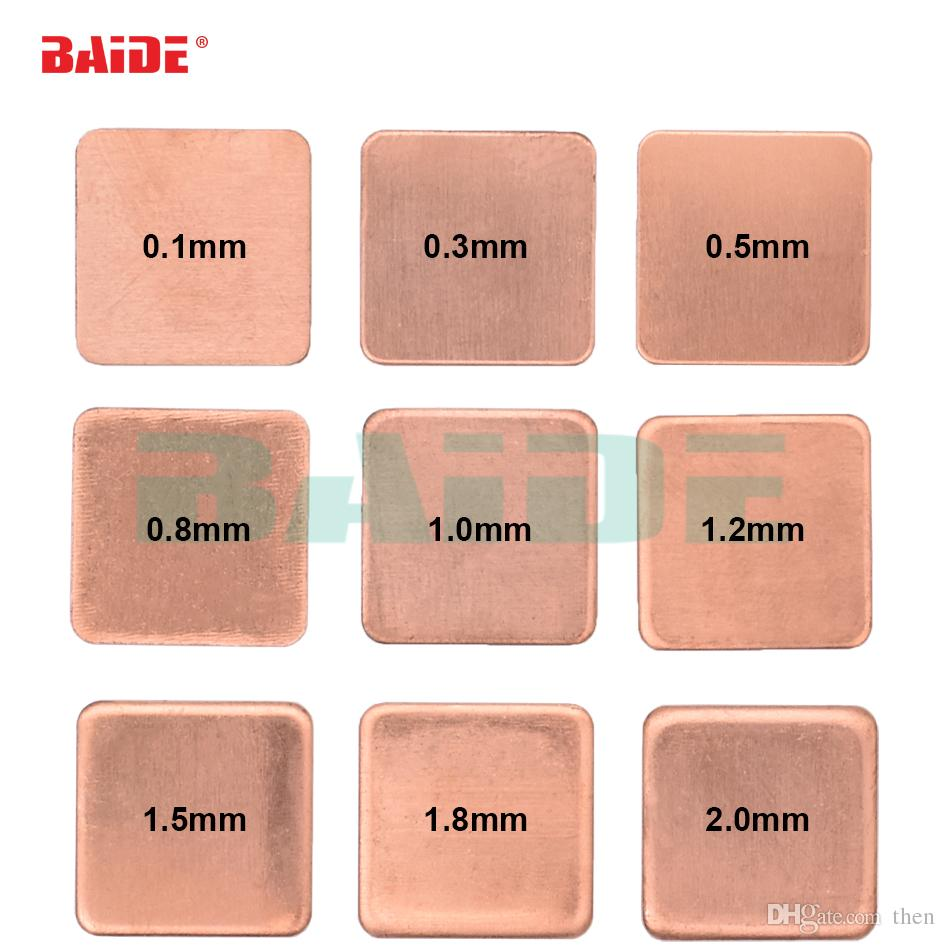 Copper Sheet Shim Piece Heat Sink 15 x 15mm 0.1/0.3/0.4/0.5/0.6/0.8/1.0/1.2/1.5/1.8/2.0mm Thermal Pad For Laptop GPU CPU 1000pcs