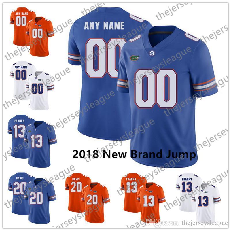 Florida Timsahları 2018 Yeni Marka Atlama Özel Herhangi Numara Mavi Turuncu Dikişli NCAA Kolej Futbolu # 81 Aaron Hernandez Formalar Herhangi Ad