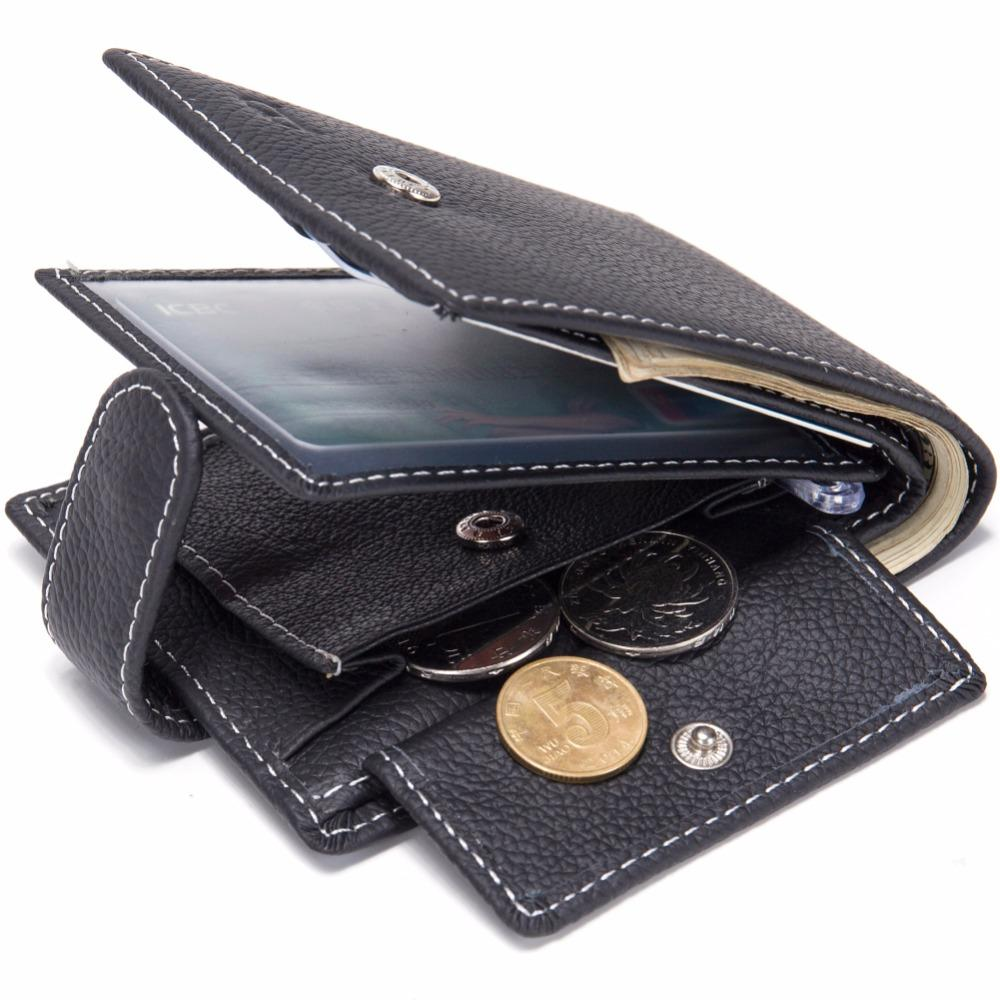 Dollar Price Men Wallets Genuine Cow Leather WalletsFamous Brand With Coin Pocket Thin Purse Card HolderFashion Slim wallet