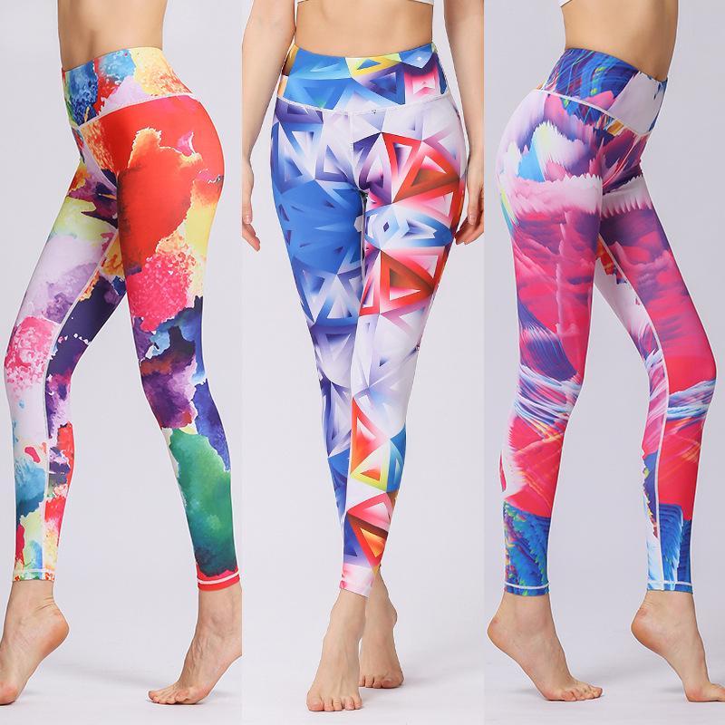Pantaloni da yoga per palestra donna stampata traspirante a vita alta leggings sportivi fitness da jogging collant da tuta pantaloni XL