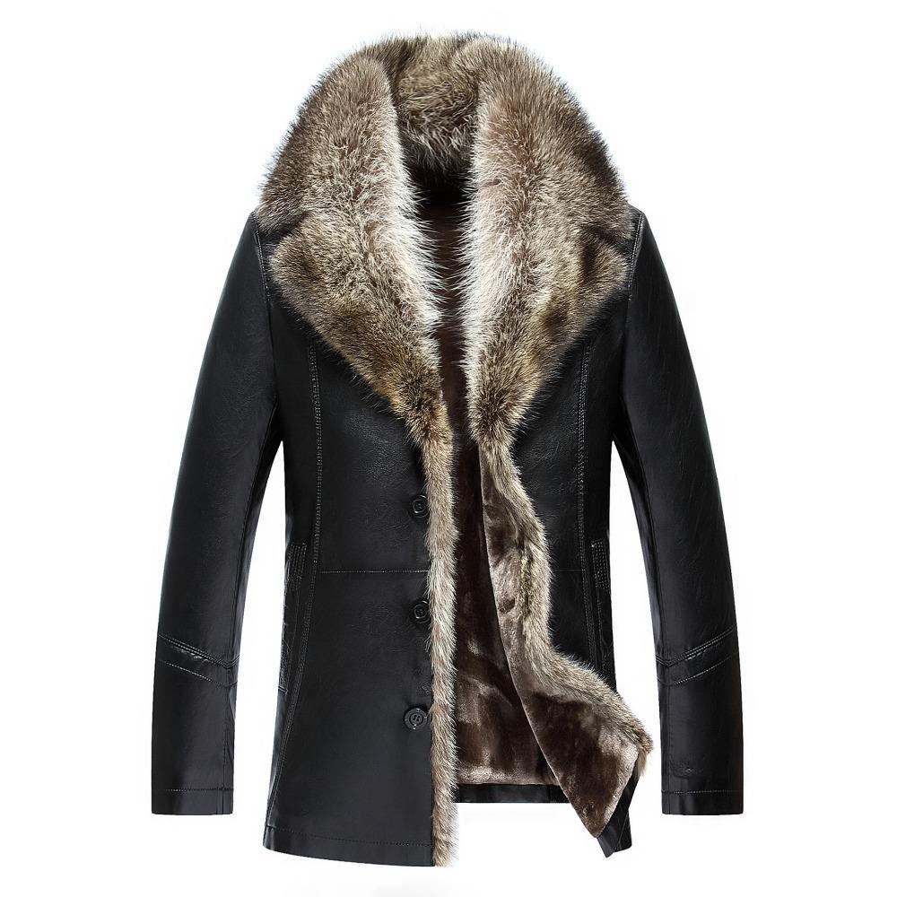 الجملة-2017 شتاء جديد طويل رشاقته دافئ الرجال سترة جلدية مع الفراء طوق زائد حجم نوعية جيدة رجل جلد معطف الفرو