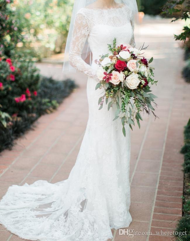 2019 manga larga de encaje de la boda vestido de sirena vestidos de novia elegante cuello barco modesta sin respaldo país más tamaño vestido de novia
