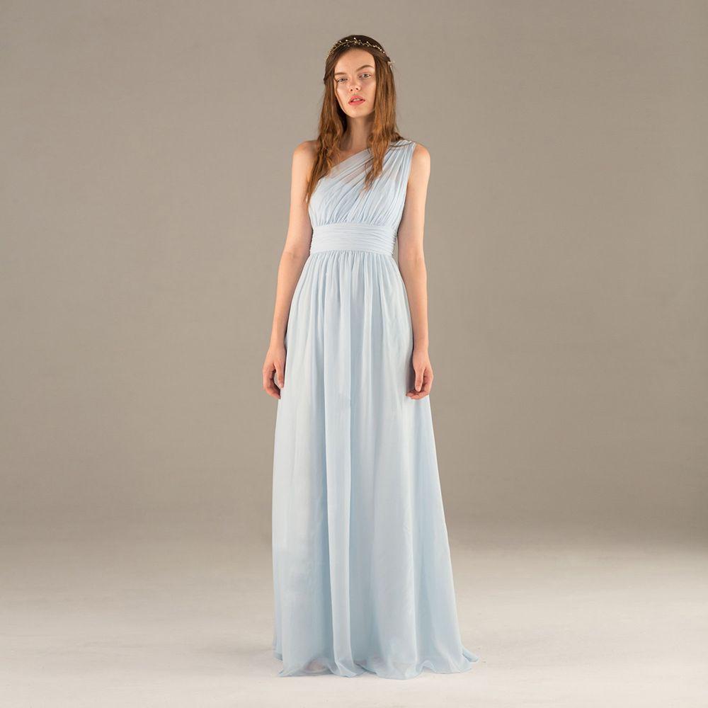 Light Sky Blue Fashion Real Photos Sheath One Shoulder Chiffon Pleat Prom Dresses Sexy Back Evening Dress Floor Length Long Bridesmaid Dress