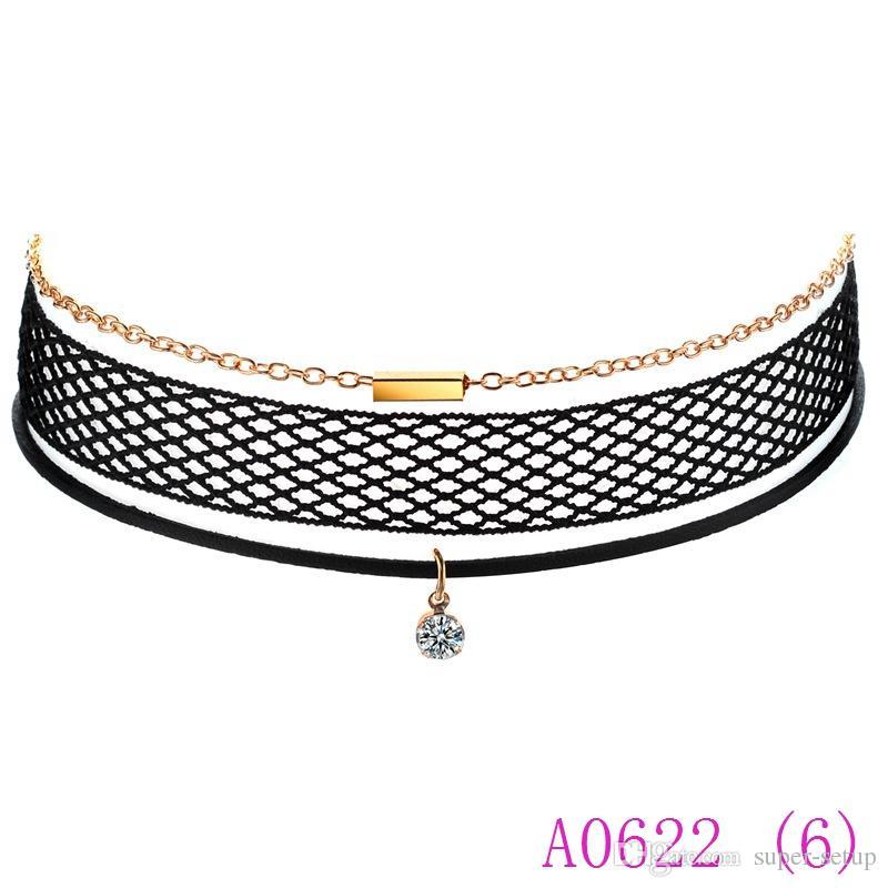 3 stücke Marke Mode Schwarz mesh Leder kristall Anhänger Halskette Für Frauen Vintage Net Kette Chockers Schmuck A0622