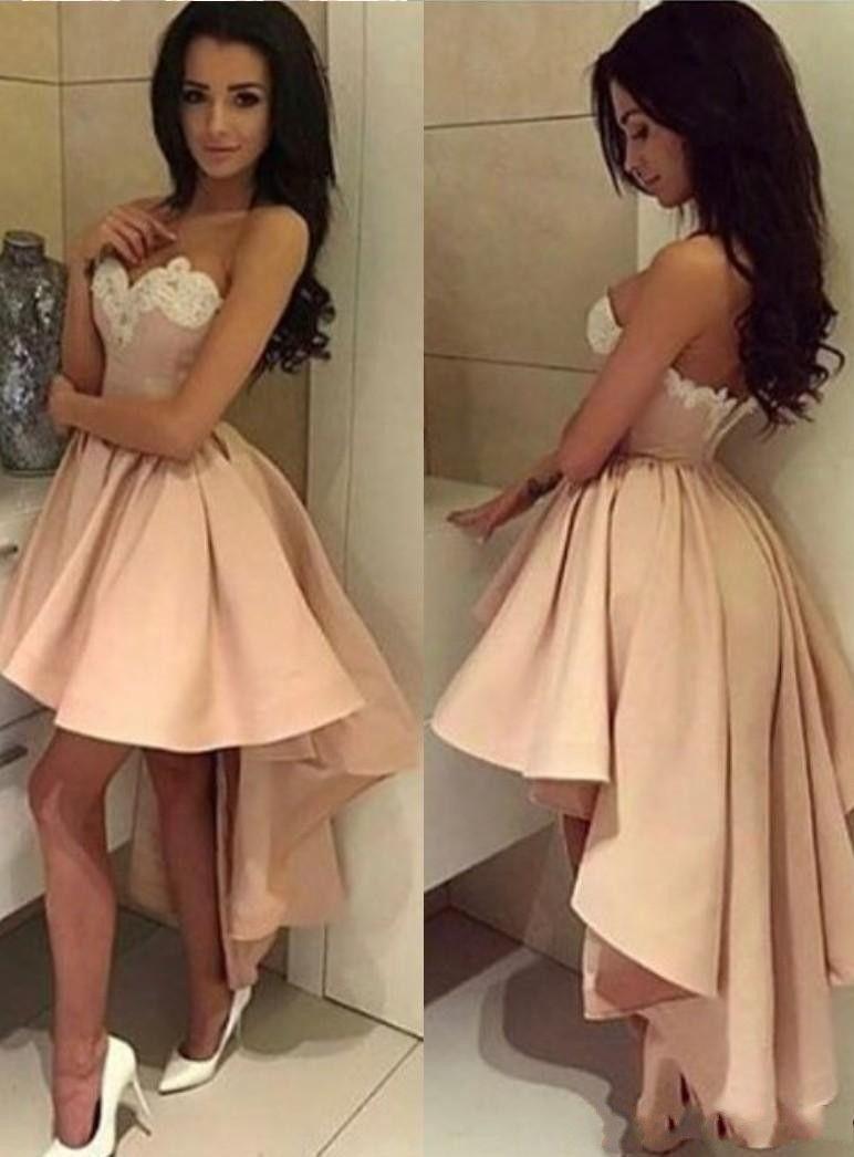 Applique del cordón árabe Dubai atractivo Hi-Lo largo de vestidos de baile una línea de novia de satén plisados del desgaste de la tarde partido formal de los vestidos por encargo