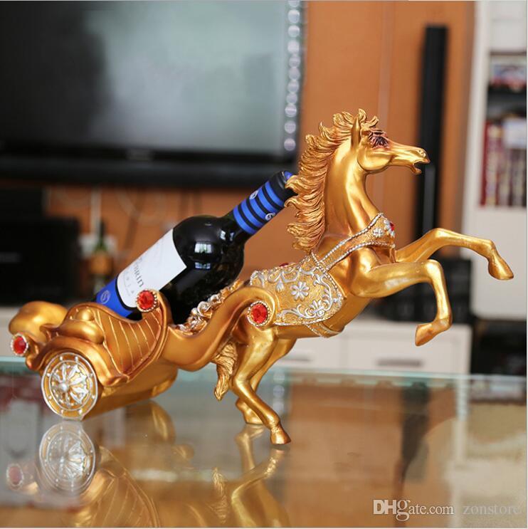 Artigianato Artigianato Artigianato Luxury Gold and Silver Vino Titolari fatti a mano Statua del cavallo Elephant Figurines Racks per la decorazione domestica