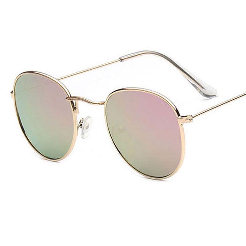 2018 metal round sunglasses Designer Wrap Oval Goggle Ornamental Fashion popular Round sunglasses reflective Adumbral glasses