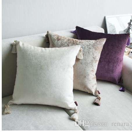 Cojín de lujo beige cojín europeo beige gris cojines decorativos decoración para el hogar funda de almohada de terciopelo moderno para sofá 45x45cm