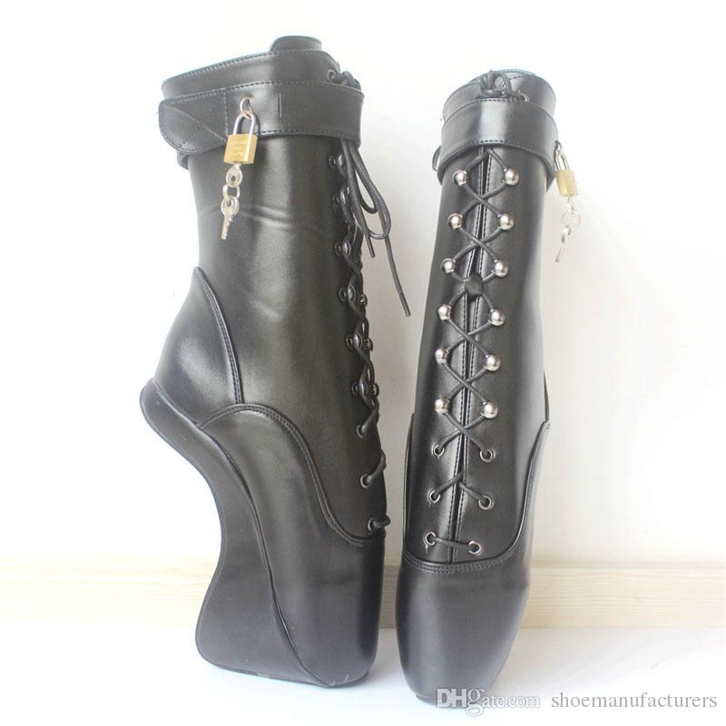 """Unisex 18cm/7"""" High Heels Cross-tied Zipper with Locks Man Fetish Sexy SM Wedges Hoof Sole Pinup Ballet Black Ankle Boots Customize Cosplay"""