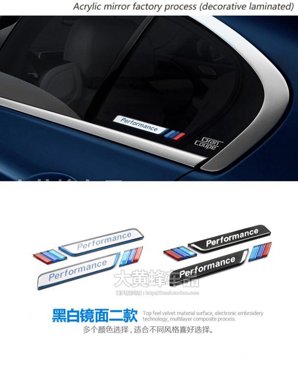 2 pcs voiture style voiture fenêtre décorative M emblème autocollant voiture fender decal autocollant 3d pour BMW E90 F30 F10 E46 E36
